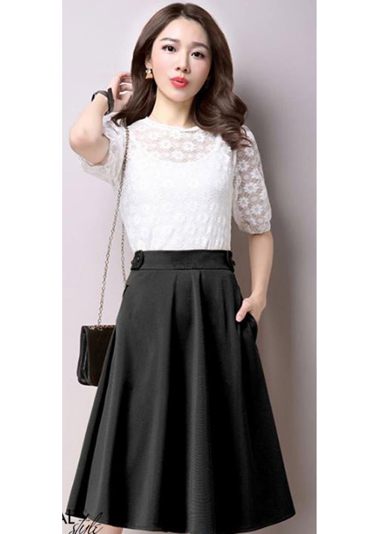 Chân Váy Xòe Nana Cách Điệu Lưng / Đen Khuyến Mại Hot