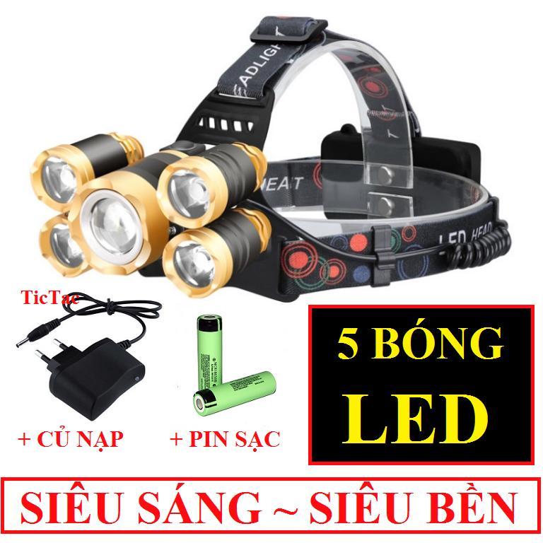 Đèn Pin Siêu Sáng đội đầu 5 Bóng Gồm 1 đen 5 Bóng + 2 Pin Sạc 18650 + 1 Củ Sạc Giảm Cực Hot