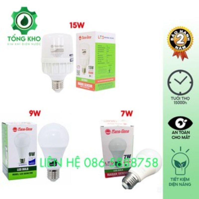 Bóng đèn LED tròn Rạng Đông cảm biến 15W, 9W, 7W - Tuổi thọ cao, độ tin cậy cao, không hạn chế số lần bật tắt, ánh sáng trung thực tự nhiên - Tổng kim kim khí điện nước