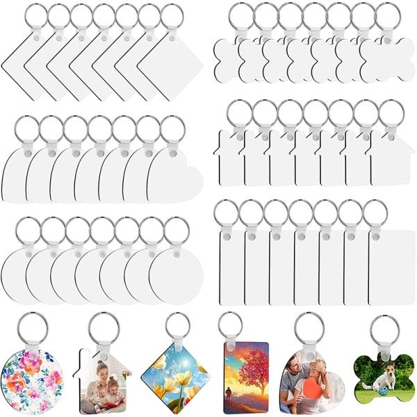 Sublimation Blank Keychains, 126Pcs Heat Transfer Keychain Pendant MDF Keychain Blanks for DIY Craft Keychain Making