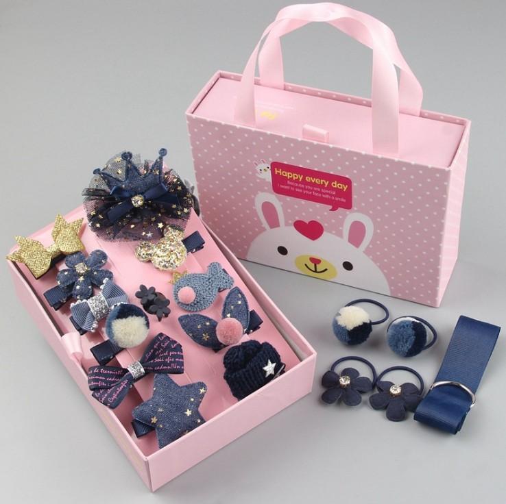 Giá bán Kẹp tóc cho bé yêu 18 món tặng 2 chun buộc tóc hộp quà tặng phụ kiện thời trang KTB trangtridecor