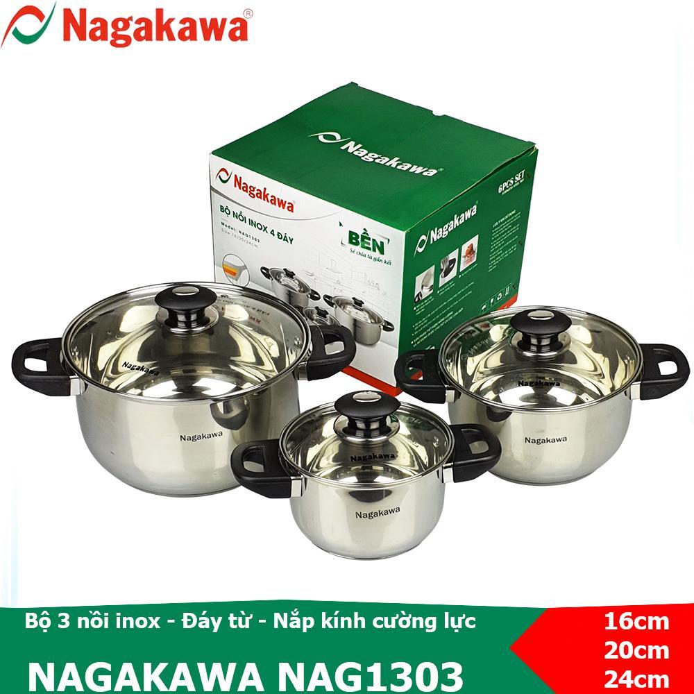 Bộ nồi inox 3 cái, thiết kế 4 đáy Nagakawa NAG1303 sử dụng được trên bếp từ