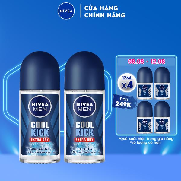 Combo 2 Lăn ngăn mùi NIVEA MEN Cool Kick Mát Lạnh - Thơm năng động (50ml) - 82886