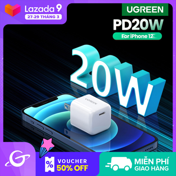 UGREEN Mini 20W PD Type-C Fast Charger for iPhone 12 Pro Max iPhone 11 Pro Max iPhone XR SAMSUNG S20+ Power Delivery Fast Charger for Cellphone