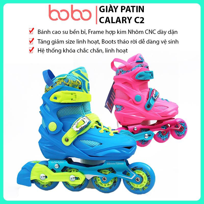 Phân phối Giày trượt patin trẻ em, Giày Patin Calary C2-2 màu xanh và hồng, tặng kèm mũ + đồ bảo hộ+cốc tập, Form giày nhựa cao cấp an toàn thoải mái, lớp vải chất lượng, bánh xe cao su êm ái, giày patin cho trẻ em, giày patin người lớn