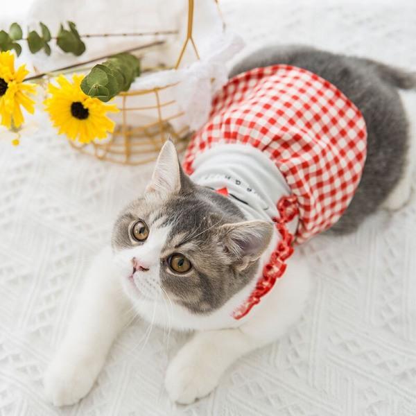 Áo váy mùa hè giá rẻ cho thú cưng kiểu dây đeo họa tiết sọc ca rô dễ thương