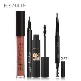 Bộ 4 sản phẩm trang điểm FOCALLURE gồm bút kẻ mắt + mascara + chì kẻ mày + son kem lì 9 màu tùy chọn thích hợp làm quà tặng dành cho phái nữ - INTL thumbnail