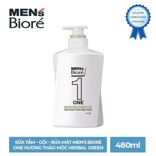 Sữa Tắm - Gội - Rửa Mặt Mens Bioré One Hương Thảo Mộc Herbal Green 480ml nhập khẩu