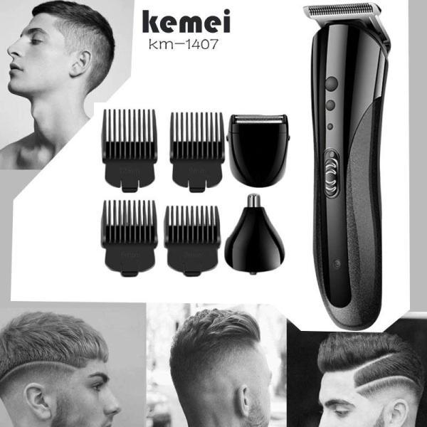 Tông đơ cắt tóc cho gia đình, Tông đơ cắt tóc người lớn trẻ em Tông đơ cắt tóc đa năng chuyên nghiệp Cắt tóc, cạo râu, cắt lông mũi 3in1 Kemei KM-1407