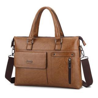 Túi xách cặp da đựng laptop công sở thời trang JEEP BULUO T06 39x29x7cm (nâu đậm - nâu sáng - đen) thumbnail