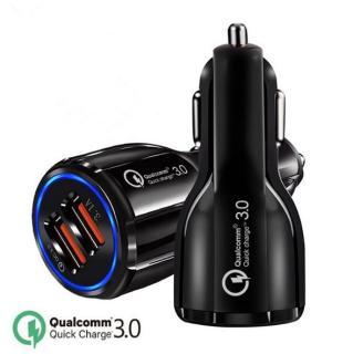 Tẩu sạc ô tô QC3.0 2 cổng USB 5V 3A sạc siêu nhanh LED viền tẩu sạc nhanh ô tô củ sạc nhanh dành cho ô tô thumbnail