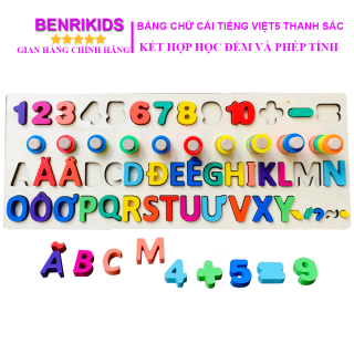 Đồ Chơi Gỗ,Giáo Cụ Montessori Cột Tính Học Đếm Kết Hợp Chữ Cái Tiếng Việt Kèm 5 Thanh Dấu thumbnail