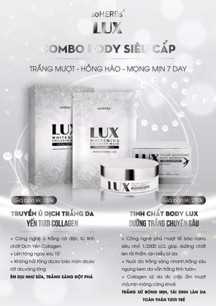 [hàng chính hãng Date 2023]-COMBO LUX 2 SP SIÊU TRẮNG-1 hộp 3 gói Ủ trắng da Lux Và Kem dưỡng trắng body tinh chất yên tươi Lux soHERs cao cấp