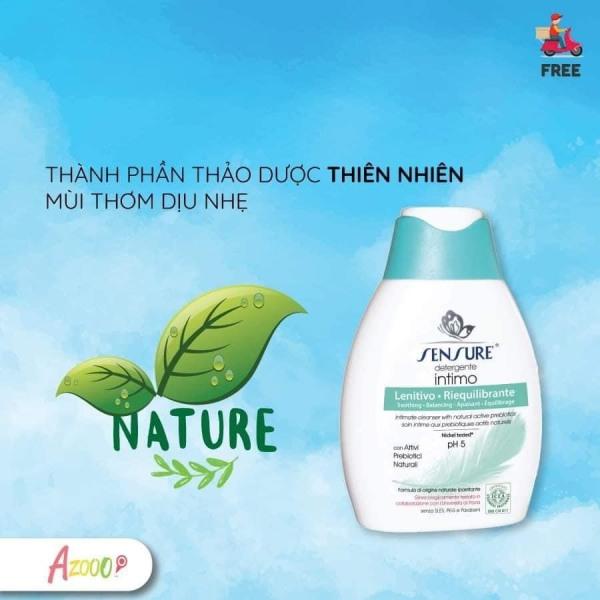 [Hàng hot]Dung dịch vệ sinh phụ nữ chiết xuất tự nhiên Sensure Detergente Intimo 100ml made in Italy, Cải thiện và xóa bỏ hoàn toàn các triệu chứng ngứa, ra khí hư, Mang lại cảm giác thư giãn, mùi thơm dịu nhẹ giúp bạn hấp dẫn