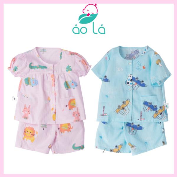 Giá bán [HCM]Bộ đồ ngắn tay cho bé trai bé gái vải cotton xô Áo Lá Homewear set cộc tay bé trai bé gái mặc hè