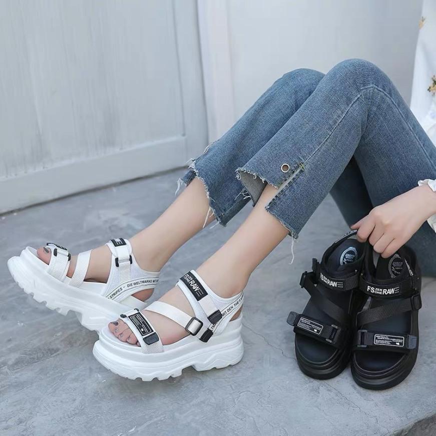 Sandal nữ,sandal học sinh,sandal quai chéo độn đế 5p Fashion giá rẻ