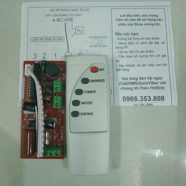 Bộ Mạch điều khiển từ xa cho quạt-Biến quạt thường thành quạt điều khiển từ xa - tự lắp trong 5 phút - điều khiển Tiếng Anh