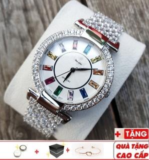 Đồng hồ nữ King mặt đính đá 7 màu dây thép cực đẹp không phai màu chống nước tốt thumbnail