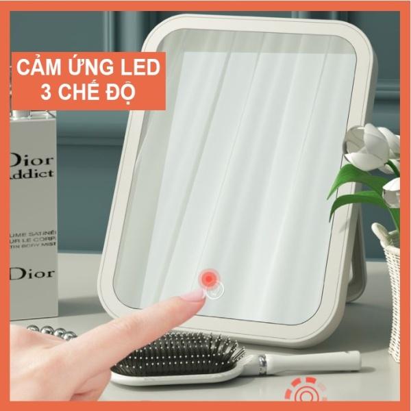 Gương trang điểm để bàn mini cảm ứng có đèn led 3 CHẾ ĐỘ MÀU, Gương để bàn mini cảm ứng có đèn led hình chữ nhật giá rẻ