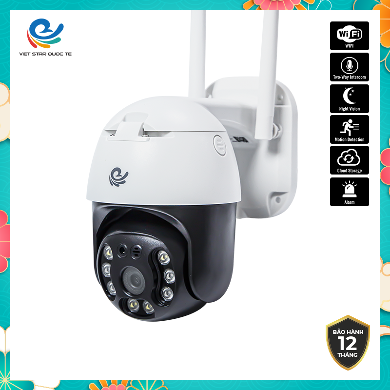 Camera WiFi IP VIET STAR ngoài trời xoay CC8031- Độ phân giải 3.0 MP- Full HD 1080P- Ban đêm hỗ trợ đèn LED có màu- Hỗ trợ đèn hồng ngoại ban đêm- Chống nước khi để ngoài trời- Bảo hành 12 tháng-CCC8031