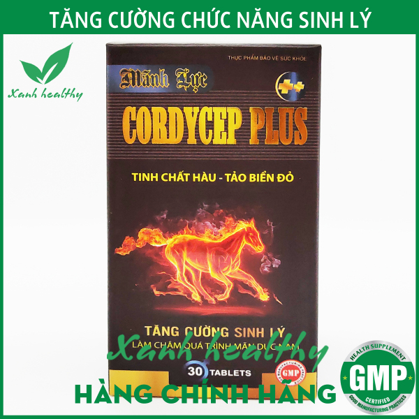 Mãnh Lực Cordycep Plus- Viên uống tăng cường sinh lý Hàu biển, Nhung hươu, nhân sâm, đông trùng hạ thảo giúp bổ thận tráng dương, giảm đau lưng mỏi gối - Hộp 30 viên Hàng chính hãng