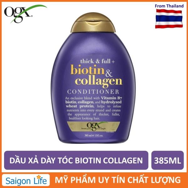 Dầu Xả Dưỡng Dày Tóc OGX Thick & Full + Biotin & Collagen Conditioner 385ml - Tím
