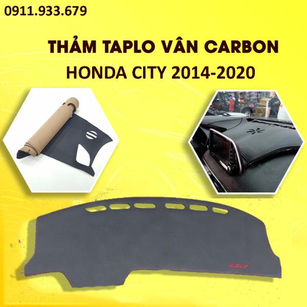 🔥HCM- Thảm taplo chống nóng cho xe ô tô,loại da carbon from xe Honda City từ đời 2014 2015 2016 2017 2018 2019 có đế chống trượt, giúp hấp thụ nhiệt đáng kể, giảm chói ánh sáng kính lái giúp lái xe an toàn
