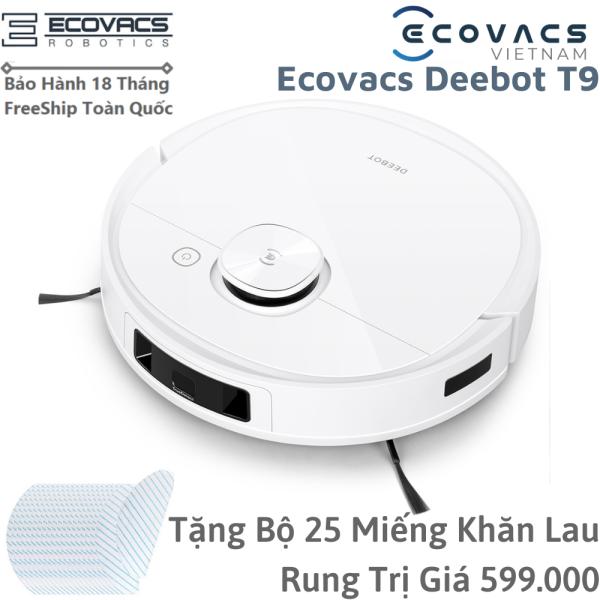 [FreeShip+Trả Góp 0%] Robot Hút Bụi Lau Nhà Ecovacs Deebot T9 Bản Quốc Tế Chính Hãng Bảo Hành 18 Tháng - Có khả năng khử mùi, Điều khiển bằng ứng dụng, Tự động phát hiện vật thể,cầu thang,Công nghệ lau rung siêu sạch 480 lần/phút