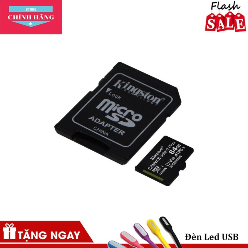Thẻ nhớ micro SDXC Kingston 64GB Canvas Select Plus upto 100MB/s + Adapter - Bảo Hành 3 Năm