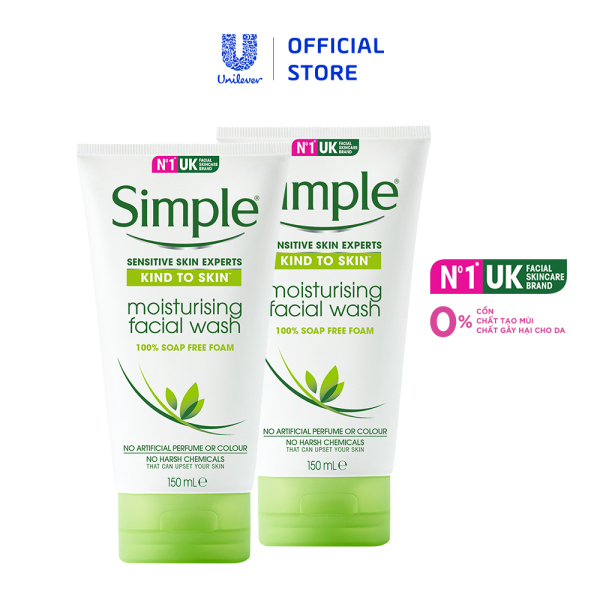 Bộ 2 Sữa rửa mặt dưỡng ẩm Simple Moisturising Facial 150ml