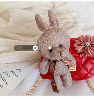 Túi đeo chéo gắn thỏ bông và nơ hồng mẫu mới, thời trang cho bé gái từ 4 tới 10 tuổi DrTOY 5