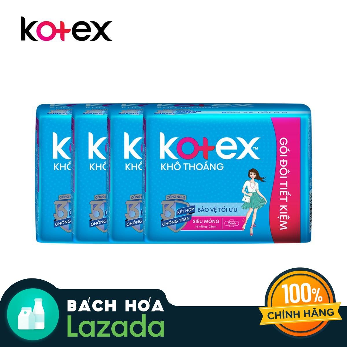 Bộ 4 gói BVS Kotex Khô thoáng SMC (gói 16 miếng)