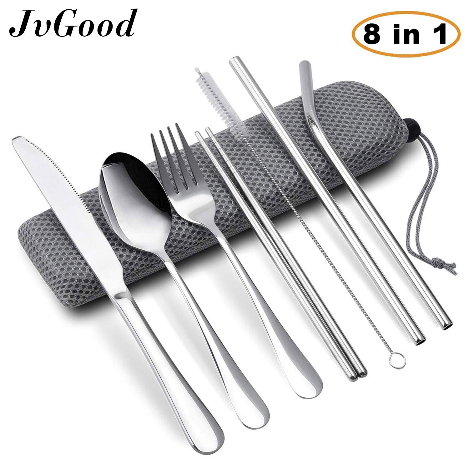 Jvgood 8pcs/set Jerami Stainless Steel Straws Reusable Metal Drinking Straws Including Knifee, Fork, Spoon, Chopsticks, Straight Straw, Bent Straw, Cleaning Brush And Carry Bag Portable Silverware Utensil Set By Jvgood.