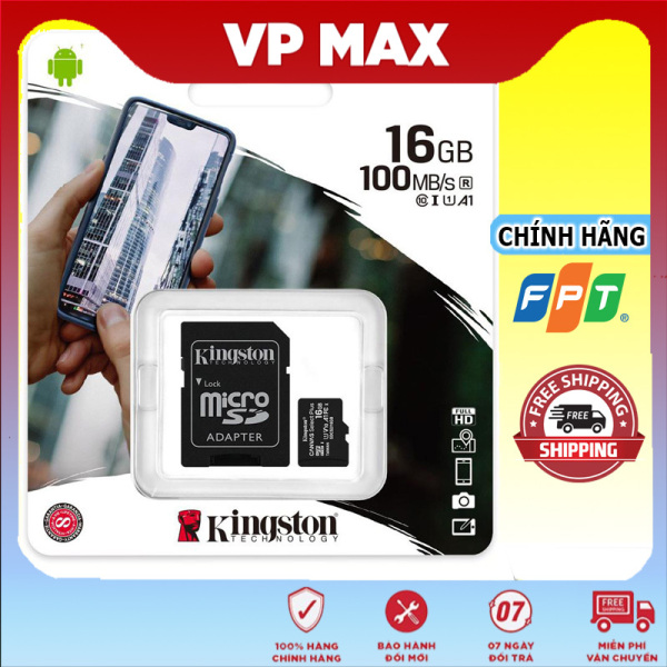 (Kèm Adapter) Thẻ Nhớ MicroSDHC 16GB Kingston Canvas Select Plus Class 10 U1 100MB/s dùng cho điện thoại camera - vpmax