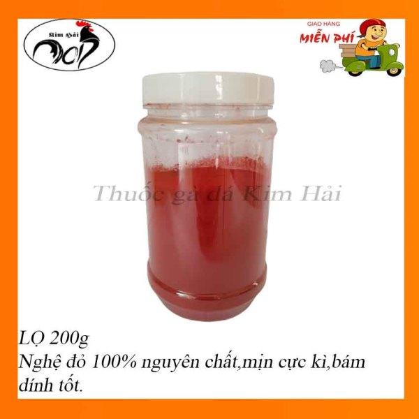 Nghệ đỏ nguyên chất nhà xay[lọ 200g]mịn,bám dính tốt,dùng cho gà đá hiệu quả.