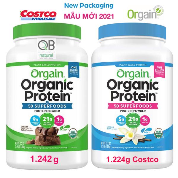Orgain Organic Protein Bột đạm thực vật hữu cơ, Plant Based Protein Powder, hương chocolate, hương superfood  Vanilla, Chocolate 1.242kg, hàng Mỹ