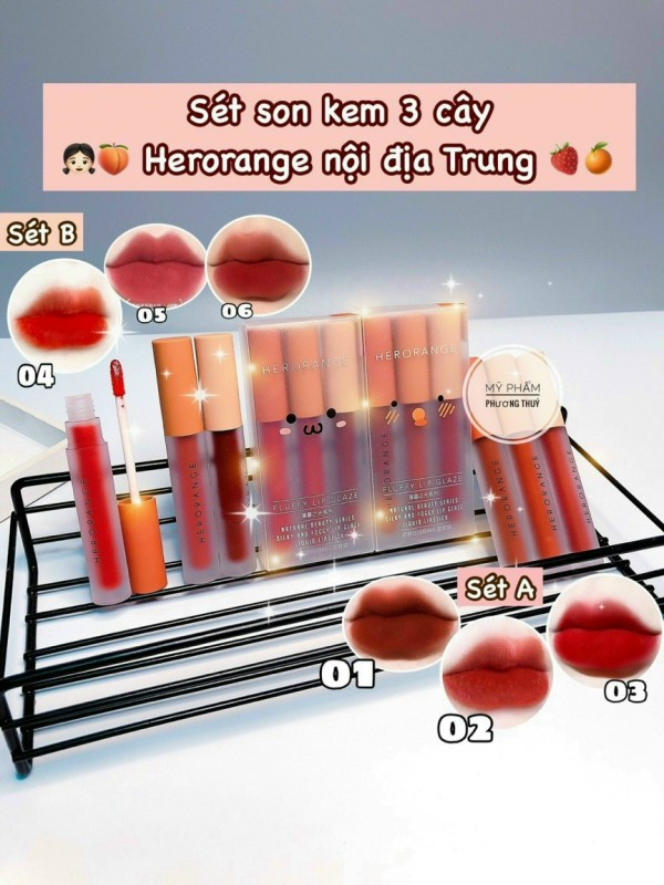Set 3 Son Kem Lì Herorang- Set Son Màu Siêu Đẹp - Hot Trend 2020