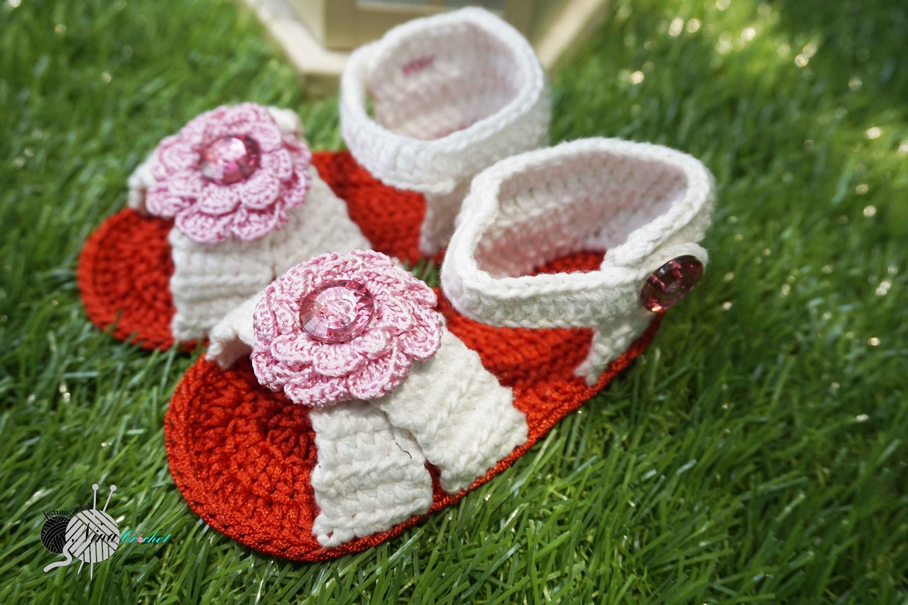 Giày Xăng đan dành cho bé gái 0-12 tháng NinaCrochet-GXDBG