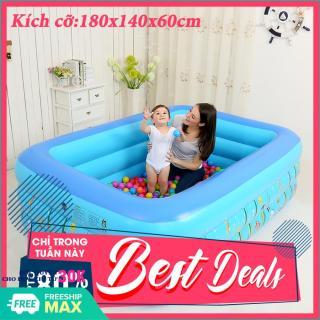 Bể bơi cho bé-Hồ bơi trẻ em-180 x 140 x 60 cm-Phao bơi cho bé-Bể bơi phao 3 tầng cho bé , bể bơi trẻ em 4 tầng - Mẫu mới 2020- Bể bơi mùa hè- Bể bơi gia đình-be boi cho be-ho boi-ho boi cho be thumbnail