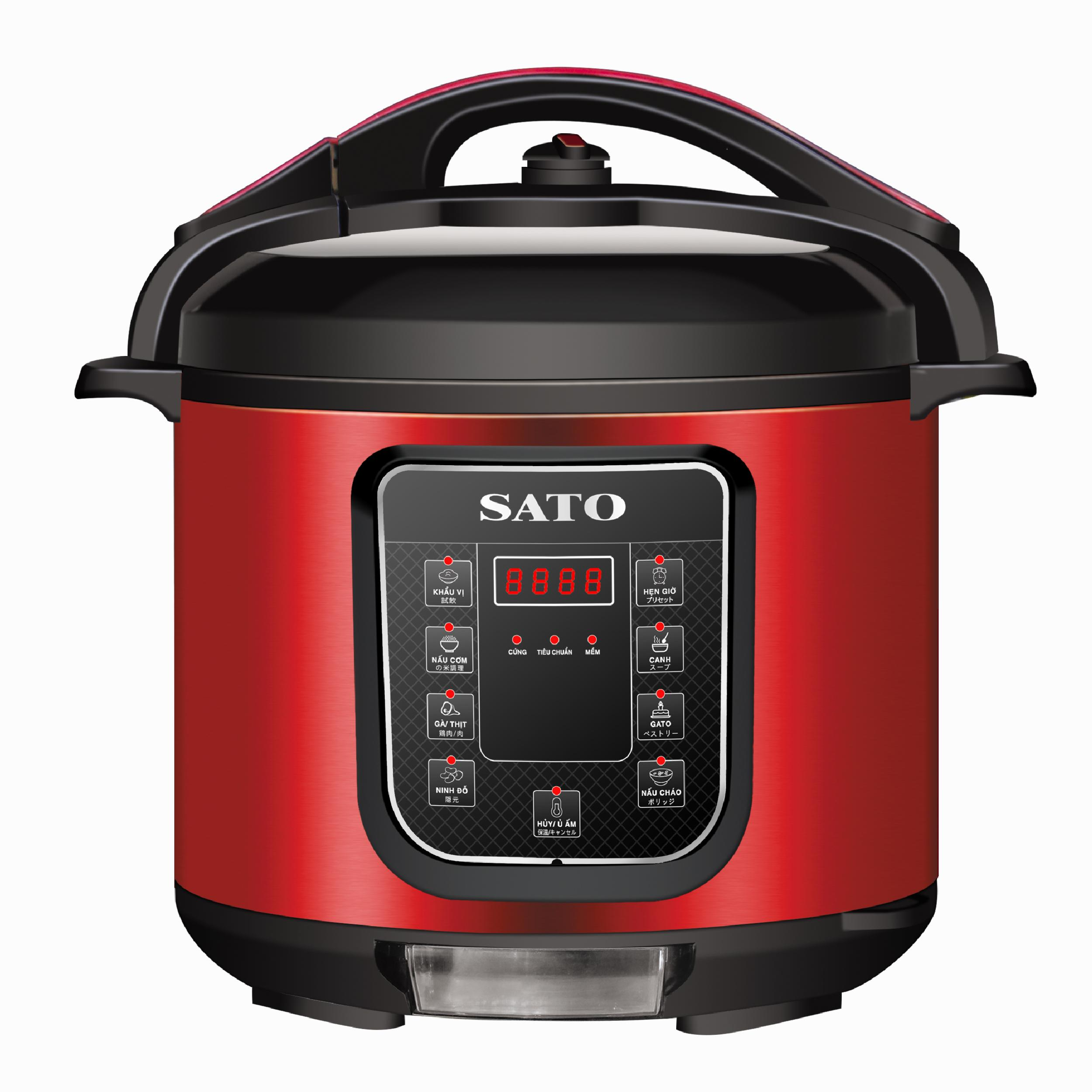 Nồi áp suất điện tử đa năng SATO ST-608PC(D) (Màu đỏ)