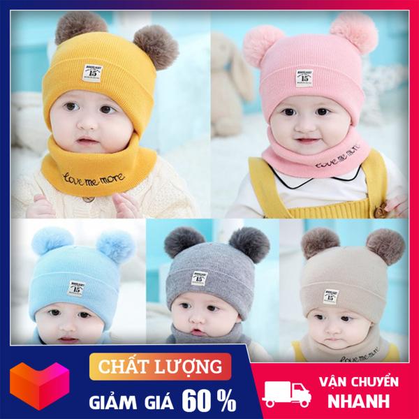 Giá bán Mũ Len 2 Quả Bông Cho Bé ( Tặng Kèm Khăn Ống) - Nón len cho bé
