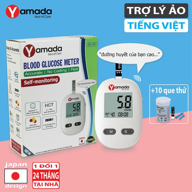 Máy đo đường huyết Yamada - Giọng nói tiếng Việt thông minh, thử tiểu đường, đo chỉ số hồng cầu HCT, tặng 10 que thử cao cấp
