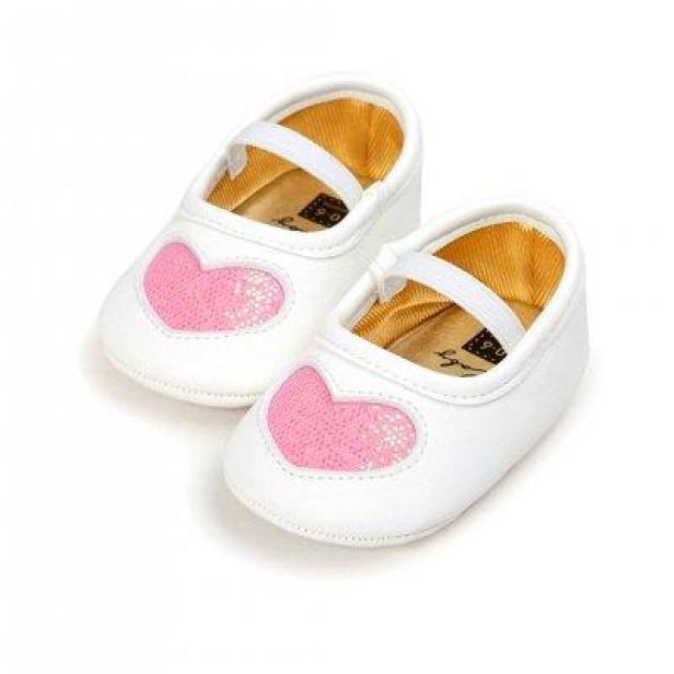 Giày tập đi cho bé gái từ 0 – 18 tháng tuổi trái tim nhũ xinh xắn BBShine – TD5 giá rẻ