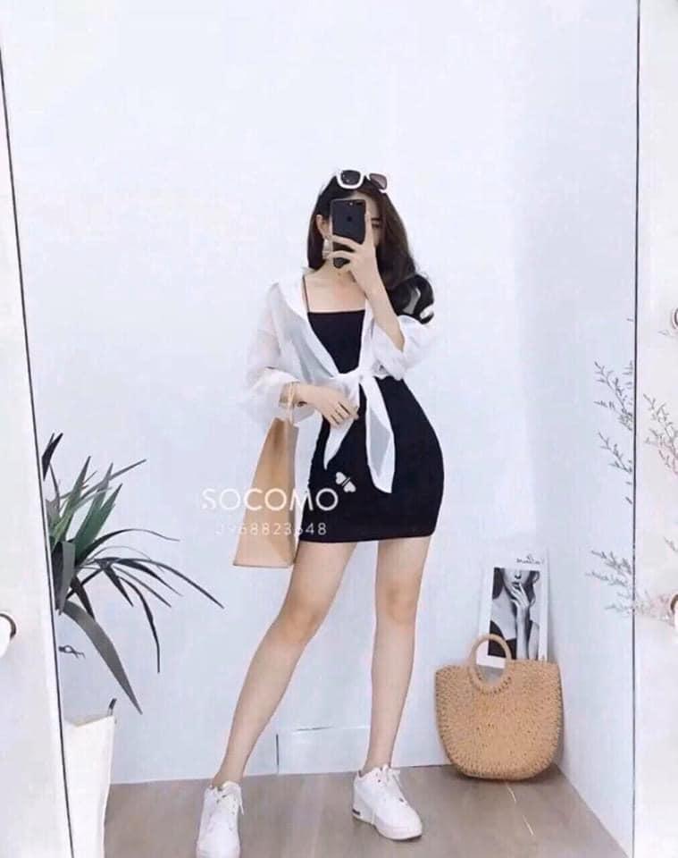 Sét đầm body 2 dây CÓ TẶNG KÈM  áo ngoài  thời trang hàn quốc kèm ẢNH THẬT . Váy co giãn đa chiều thoải mái cho người mặc . XƯỞNG MAYB&Q