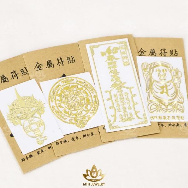 Bộ 4 Linh Phù Miếng Dán Điện Thoại Tài Lộc May Mắn Phong Thủy/Siêu Đẹp - Phù Hợp Các Dòng Điện Thoại