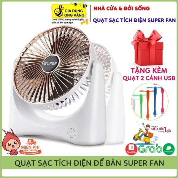 Quạt Để Bàn Sạc Tích Điện Super Fan, 3 Chế Độ Mát, Để Bàn Làm Việc, Ô Tô... Giao Hàng Nhanh Bảo Hành 12 Tháng