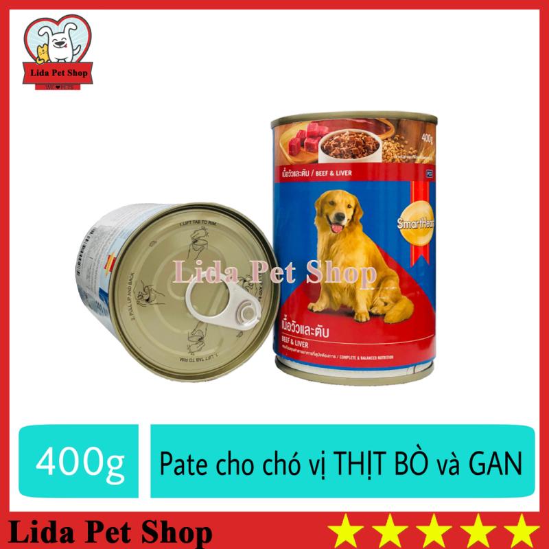 HN- Thức Ăn Pate SmartHeart Hương Vị Thịt Bò & Gan Cho Chó Lớn - lon 400g - Lida Pet Shop