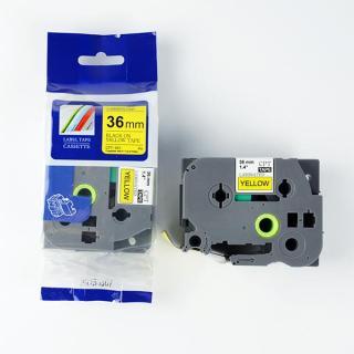 Nhãn in CPT-661 tương thích máy in nhãn Brother P-Touch - Nhãn in chữ đen nền vàng khổ 36mm thumbnail