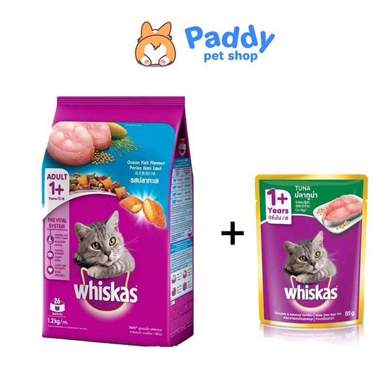 [1.2kg] - Whiskas thức ăn dạng hạt dành cho mèo lớn vị cá biển