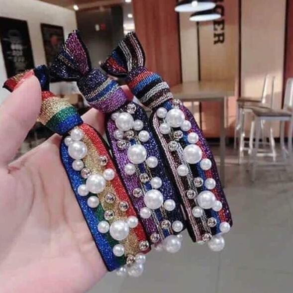 Giá bán [Nguyen Dung Fashion] Dây buộc tóc đính đá tiện dụng MS08
